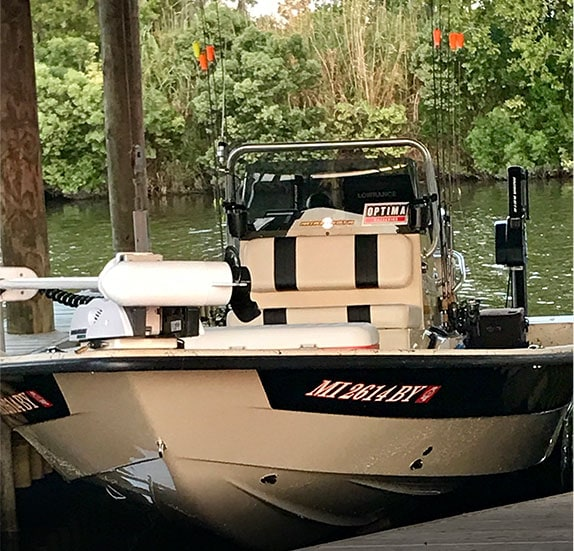 Whiskey Bayou Fishing Charters boat at the dock
